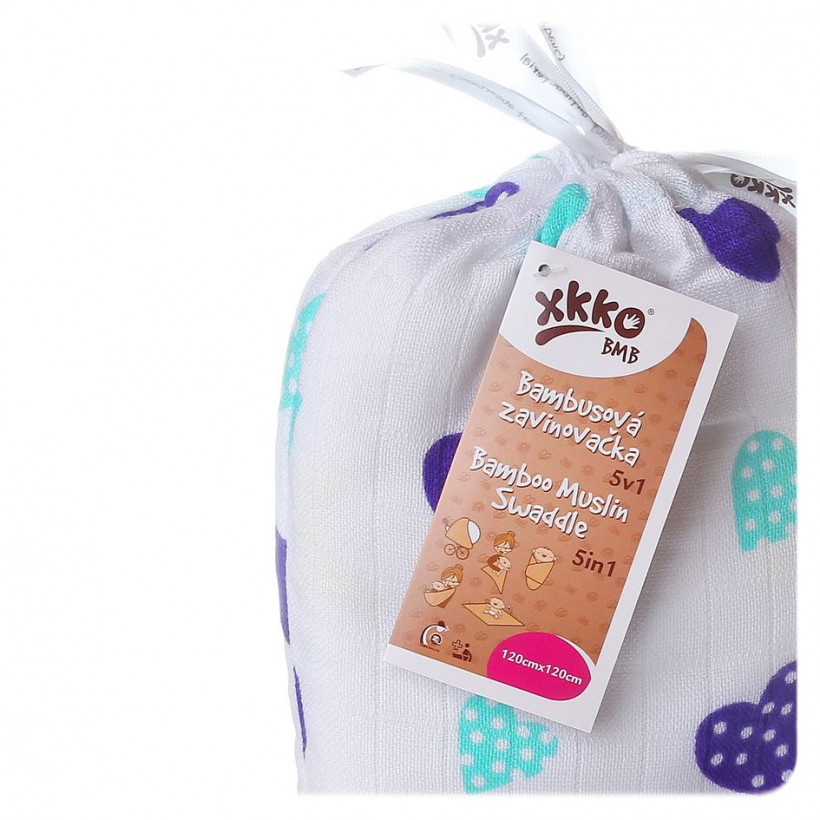 Bamboo swaddle XKKO BMB 120x120 - Ocean Blue Hearts 5x1ps (Wholesale packaging)