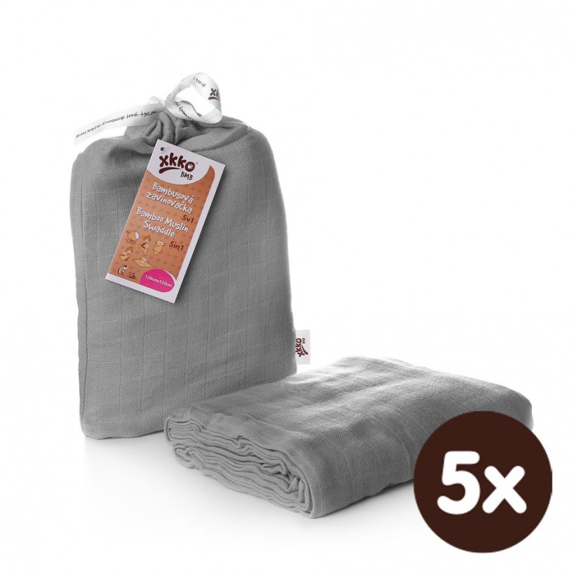 Bamboo swaddle XKKO BMB 120x120 - Silver 5x1ps (Wholesale packaging)