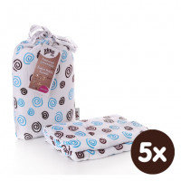 Bamboo swaddle XKKO BMB 120x120 - Cyan Spirals 5x1ps (Wholesale packaging)