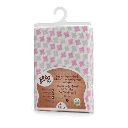Bamboo muslin fitted sheet XKKO BMB 50x70 - Baby Pink Cross