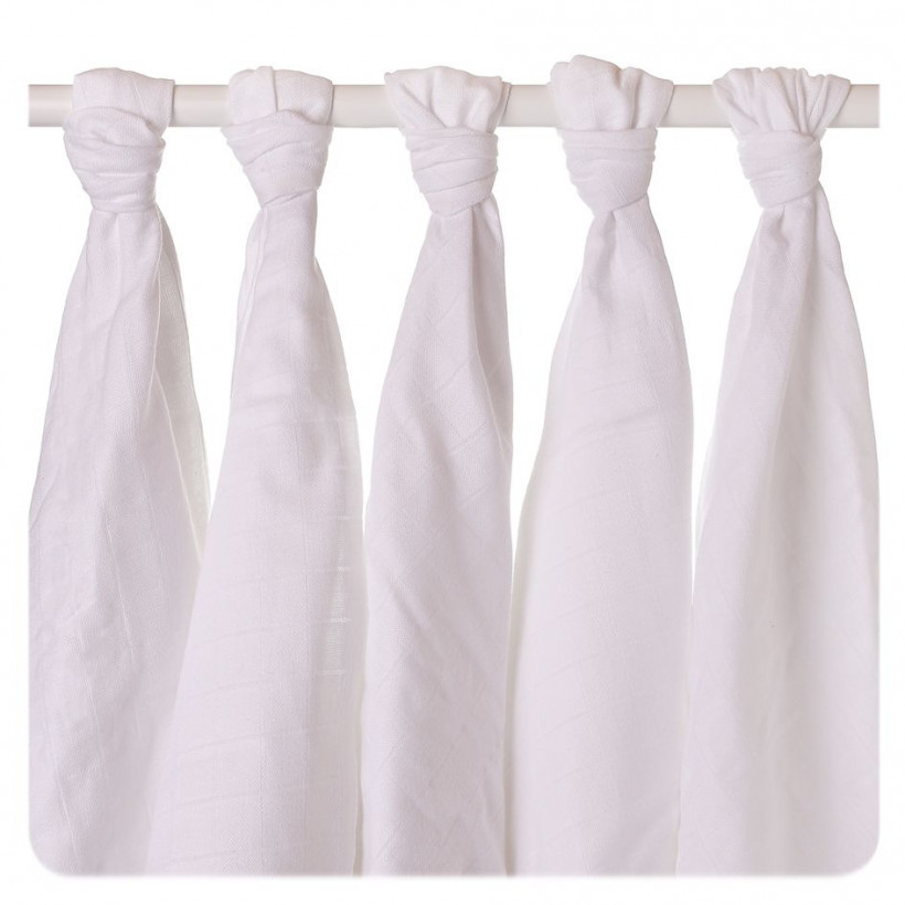 Organic Cotton Muslins XKKO Organic 70x70 Old Times - White 5x5ps (Wholesale pack.)