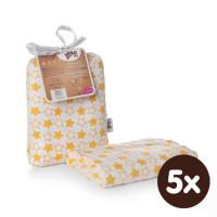 Bamboo swaddle XKKO BMB 120x120 - Little Stars Orange 5x1ps (Wholesale packaging)