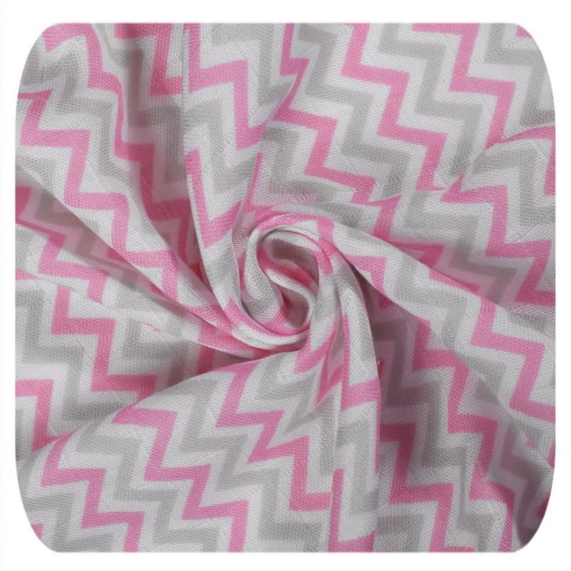 Bamboo muslin towel XKKO BMB 90x100 - Baby Pink Chevron