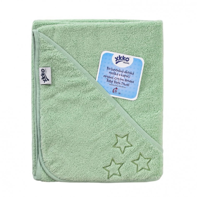 Hooded terry bath towel XKKO Organic 90x90 - Mint Stars