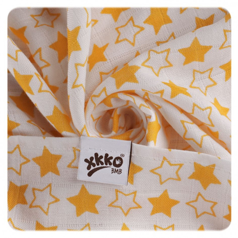 Bamboo muslins XKKO BMB 70x70 - Little Stars Orange MIX 3pcs