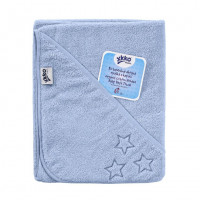 Hooded terry bath towel XKKO Organic 90x90 - Baby Blue Stars 5x1ps (Wholesale pack.)