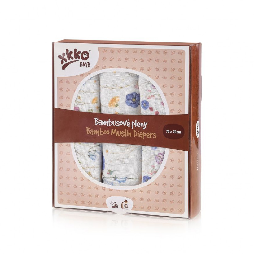 Bamboo muslins XKKO BMB 70x70 Digi - Blue Wildflowers MIX 3pcs