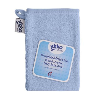 Organic cotton Terry Bath Glove XKKO Organic - Baby Blue