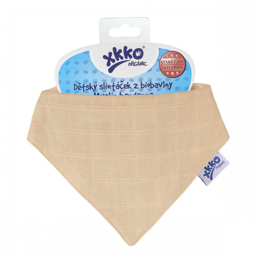 Organic Cotton Muslin Bandana XKKO Organic - Peach 3x1ps (Wholesale pack.)