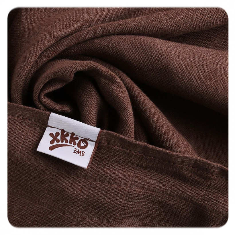 Bamboo muslin towel XKKO BMB 90x100 - Dark Choco 10x1pcs (Wholesale packaging)