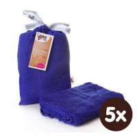 Bamboo swaddle XKKO BMB 120x120 - Ocean Blue 5x1ps (Wholesale packaging)
