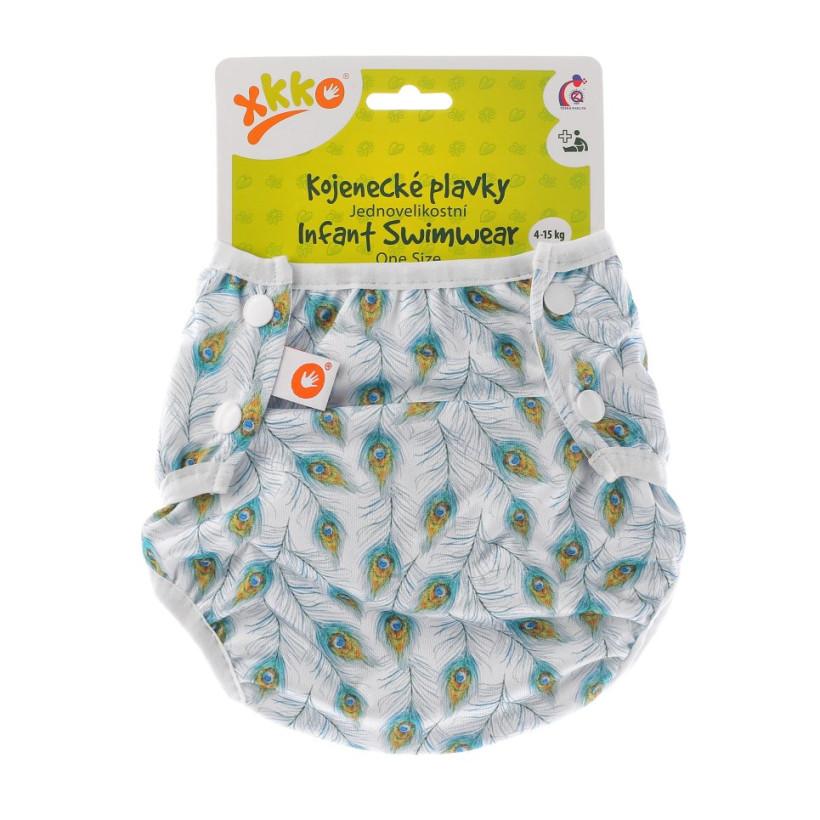 Infant swim nappy XKKO OneSize - Peacock Feathers
