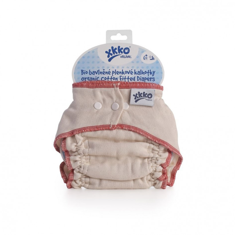 Organic cotton fitted diaper XKKO Organic - Natural Size M 5x1ps (Wholesale pack.)