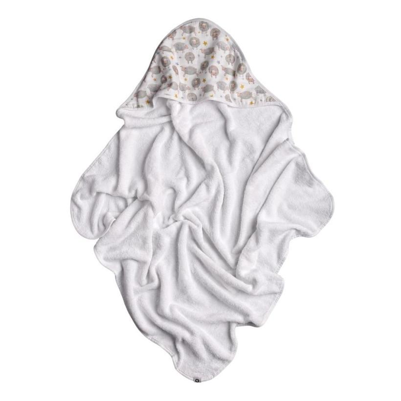 Hooded bamboo terry towel XKKO BMB 90x90 - Dreamy Sheeps