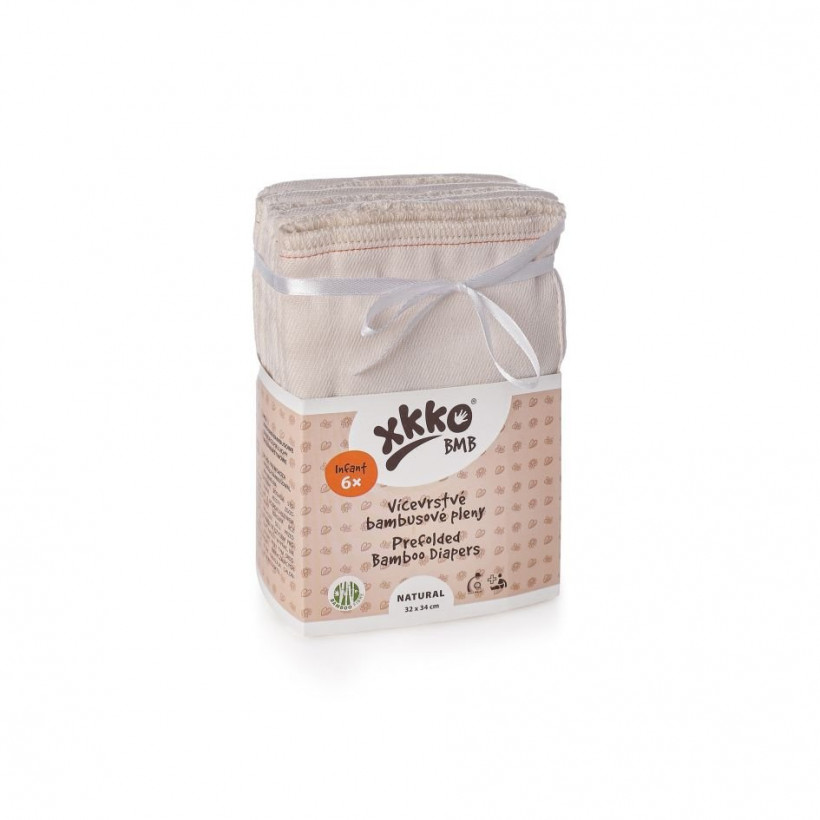 Bamboo Prefolded Diapers XKKO BMB - Infant Natural 6x6ps (Wholesale pack.)