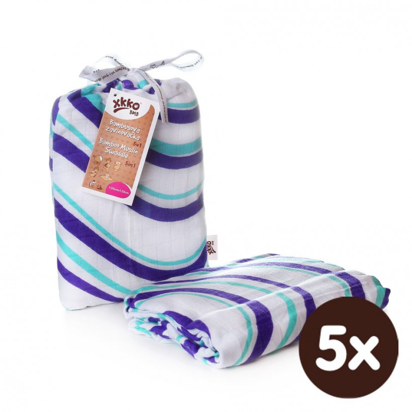 Bamboo swaddle XKKO BMB 120x120 - Ocean Blue Waves 5x1ps (Wholesale packaging)