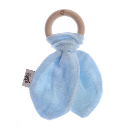 XKKO BMB Bamboo teether with Leaves - Baby Blue