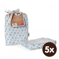 Bamboo swaddle XKKO BMB 120x120 - Baby Blue Cross 5x1ps (Wholesale packaging)