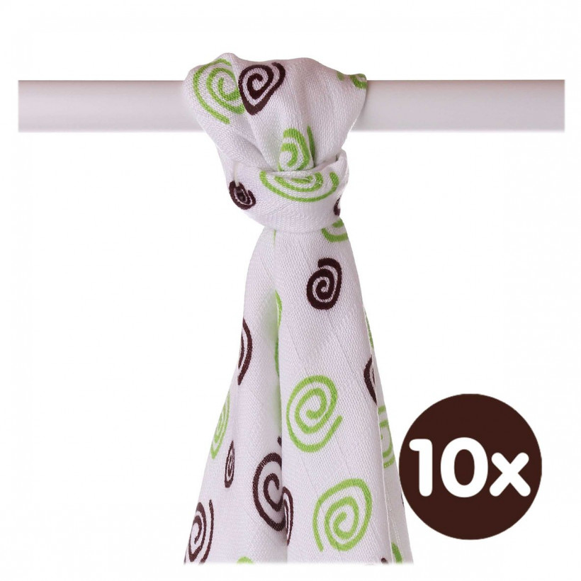 Bamboo muslin towel XKKO BMB 90x100 - Lime Spirals 10x1pcs (Wholesale packaging)