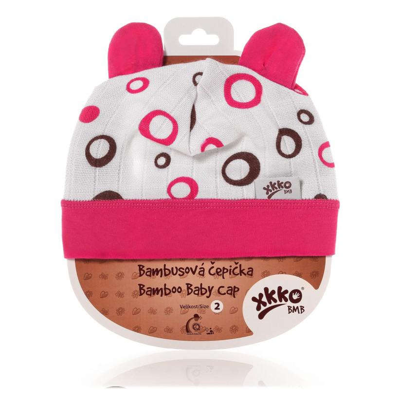 Bamboo Baby Hat XKKO BMB - Magenta Bubbles