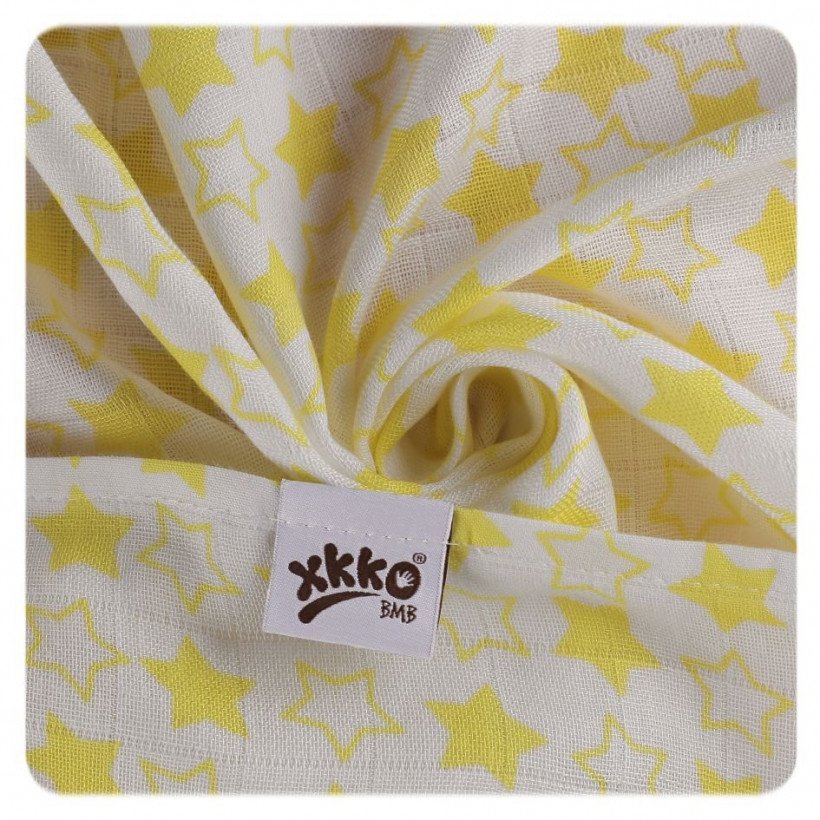 Bamboo swaddle XKKO BMB 120x120 - Little Stars Lemon 5x1ps (Wholesale packaging)