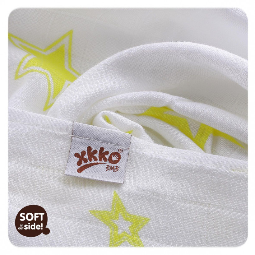Bamboo muslins XKKO BMB 70x70 - Lemon Stars MIX 10x3pcs (Wholesale packaging)
