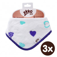 Bamboo bandana XKKO BMB - Ocean Blue Hearts 3x1ps Wholesale packing
