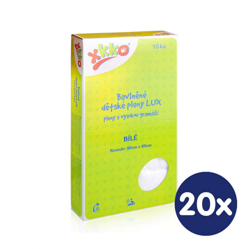 Hight Density Cotton Muslins XKKO LUX 80x80 - White 20x10ps (Wholesale pack.)