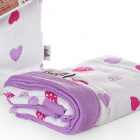 Bamboo muslin blanket XKKO BMB 100x100 - Lilac Hearts 5x1ps (Wholesale packing)