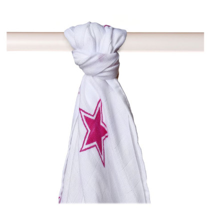 Bamboo muslin towel XKKO BMB 90x100 - Magenta Stars