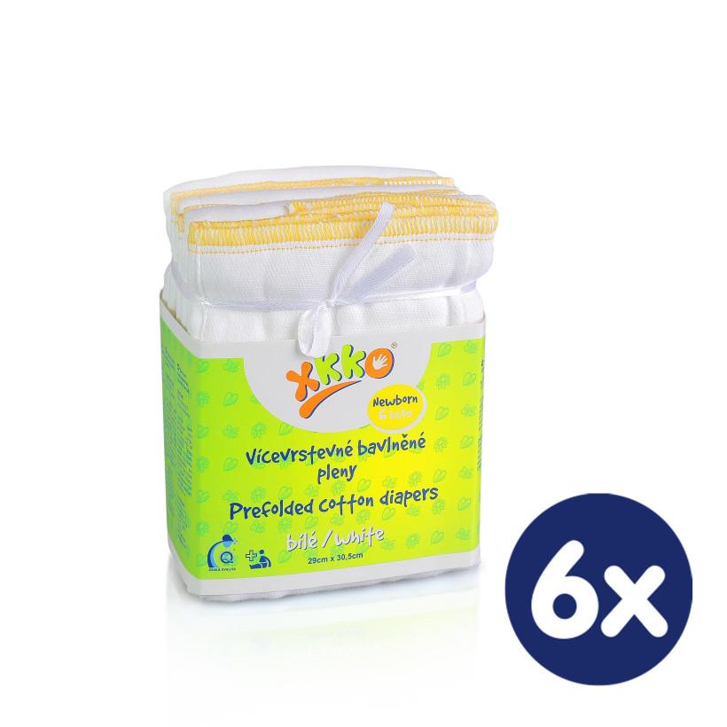 Prefolded Diapers XKKO Classic - Newborn White 6x6ps (Wholesale pack.)