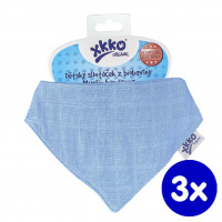 Organic Cotton Muslin Bandana XKKO Organic - Ocean Blue 3x1ps (Wholesale pack.)