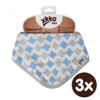 Bamboo bandana XKKO BMB - Baby Blue Cross 3x1ps Wholesale packing