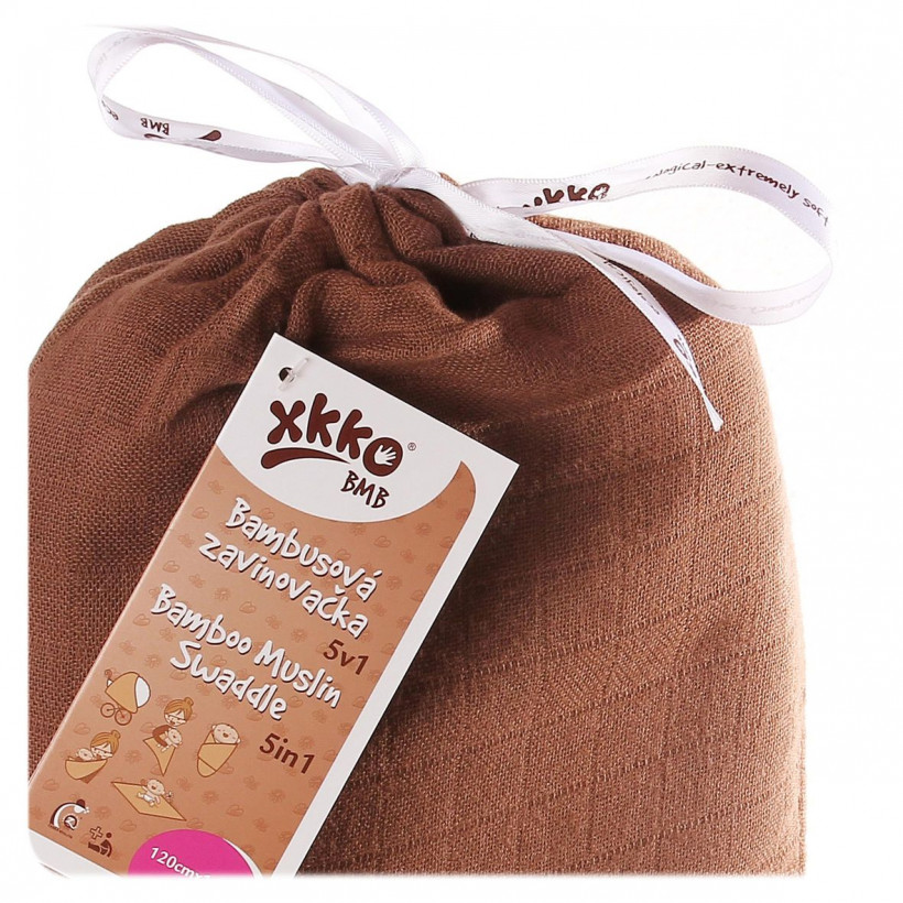 Bamboo swaddle XKKO BMB 120x120 - Milk Choco 5x1ps (Wholesale packaging)