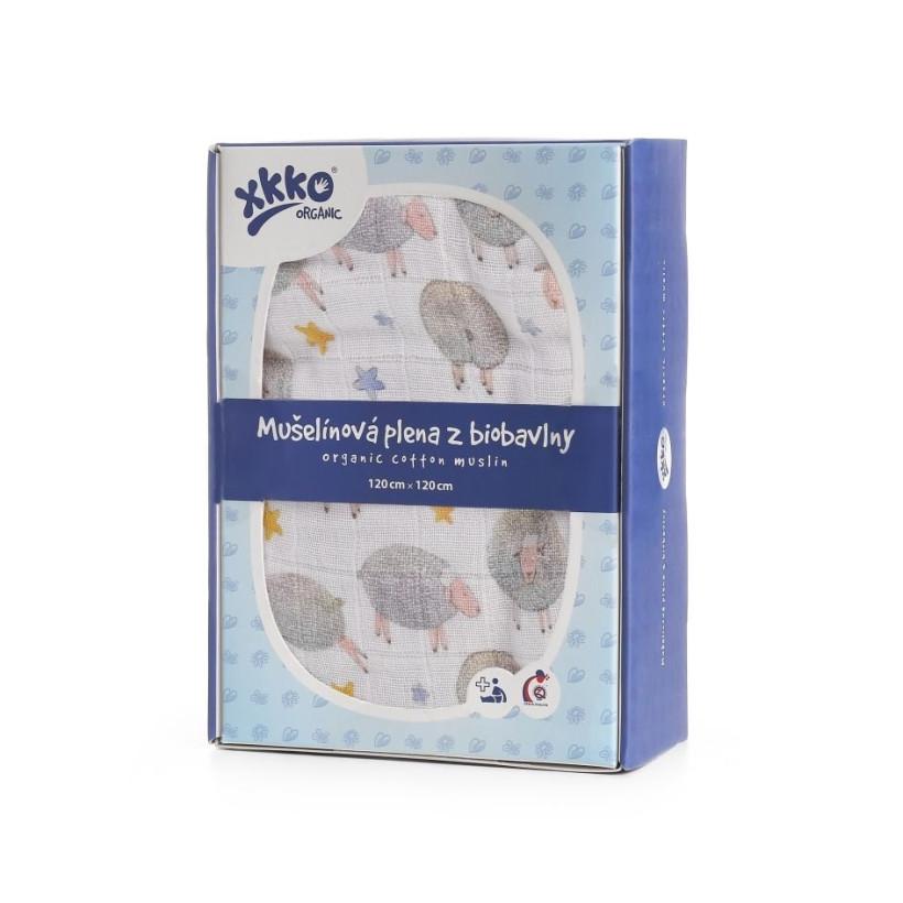 Organic Cotton Swaddle XKKO Organic 120x120 - Dreamy Sheeps