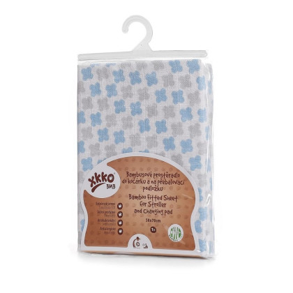 Bamboo muslin fitted sheet XKKO BMB 50x70 - Baby Blue Cross