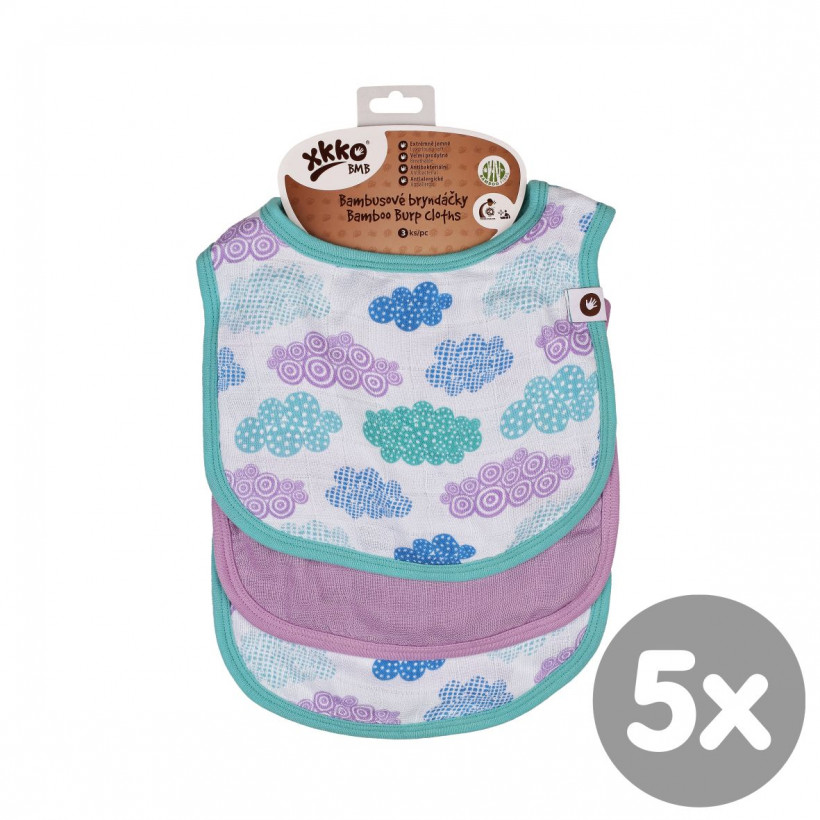 Bamboo Burp Cloth XKKO BMB - Heaven For Boys MIX 5x3ps (Wholesale packaging)