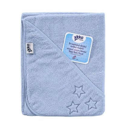 Hooded terry bath towel XKKO Organic 90x90 - Baby Blue Stars