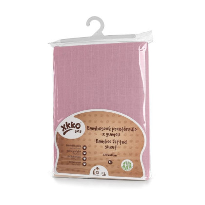Bamboo muslin fitted bed sheet XKKO BMB 120x60 - Baby Pink