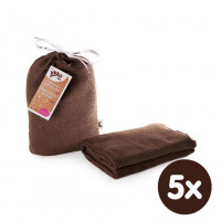Bamboo swaddle XKKO BMB 120x120 - Dark Choco 5x1ps (Wholesale packaging)