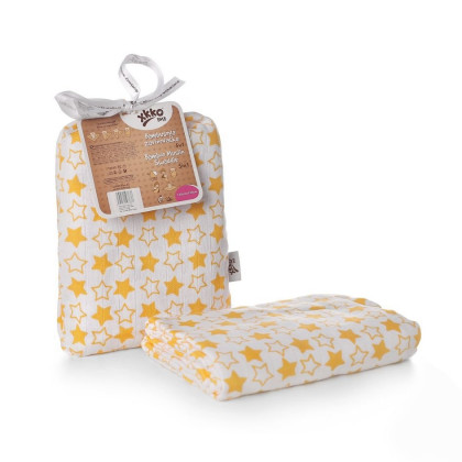 Bamboo swaddle XKKO BMB 120x120 - Little Stars Orange