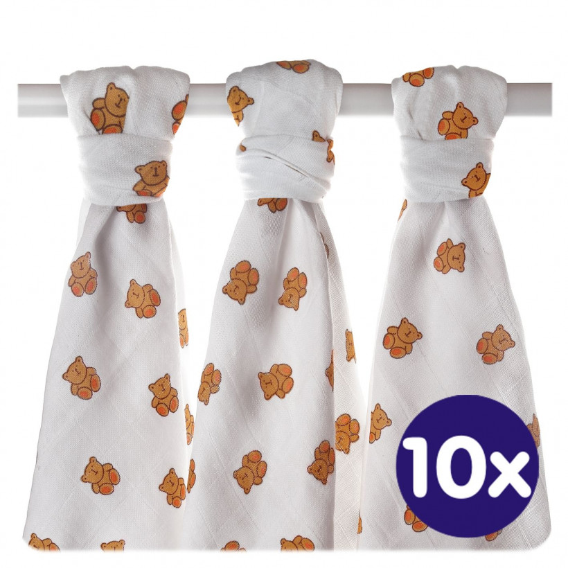 Hight Density Cotton Muslins XKKO LUX 80x80 - Bears 10x3ps  (Wholesale pack.)