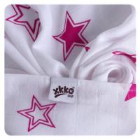 Bamboo muslin towel XKKO BMB 90x100 - Magenta Stars 10x1pcs (Wholesale packaging)