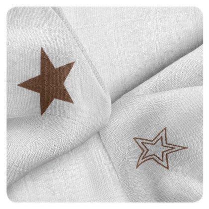 Bamboo muslins XKKO BMB 30x30 - Natural Brown Stars MIX 9pcs