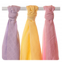 Organic Cotton Muslin Towels XKKO Organic 90x100 Old Times- Pastels For Girls 5x3ps (Wholesale pack.)