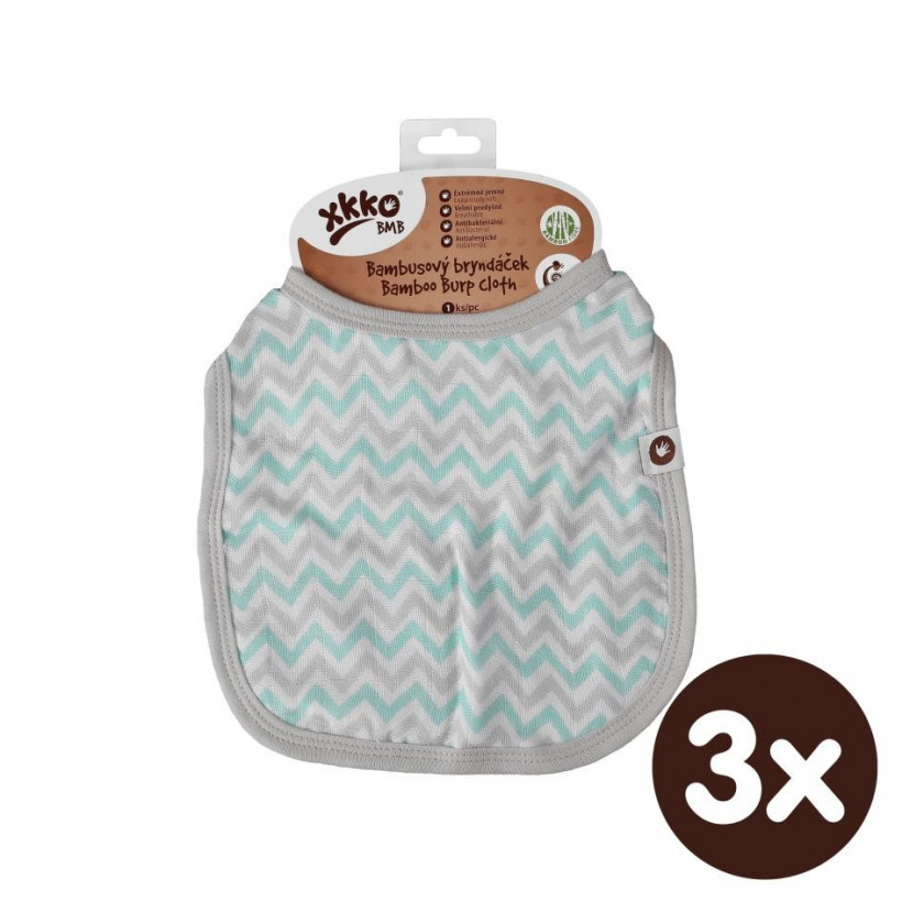Bamboo Burp Cloth XKKO BMB - Mint Chevron 3x1ps (Wholesale packaging)