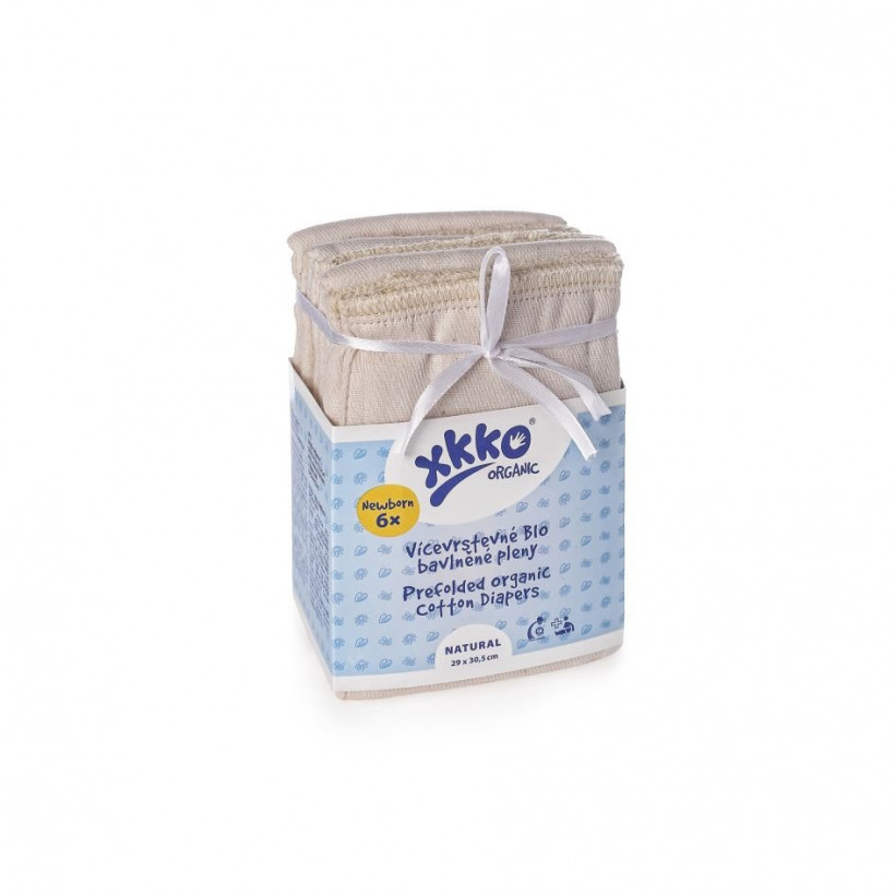 Prefolded Diapers XKKO Organic - Newborn Natural 24x6ps (Wholesale pack.)