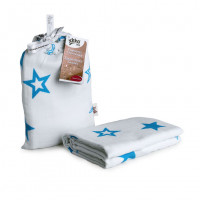 Bamboo swaddle XKKO BMB 120x120 - Cyan Stars 5x1ps (Wholesale packaging)
