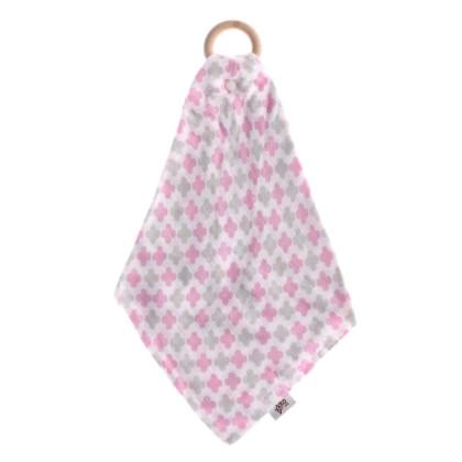 XKKO BMB Bamboo teether with Muslin - Baby Pink Cross