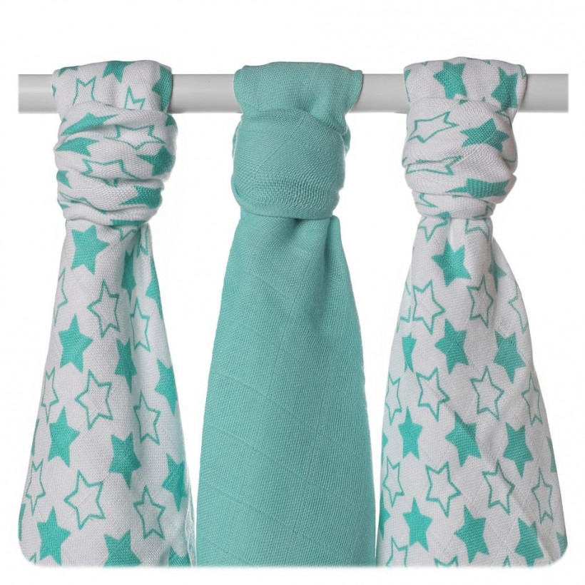 Bamboo muslins XKKO BMB 70x70 - Little Stars Turquoise MIX 10x3pcs (Wholesale packaging)